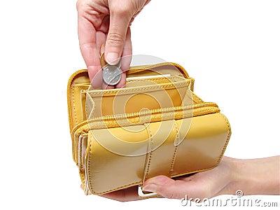 Portefeuille en hand-knippende weg