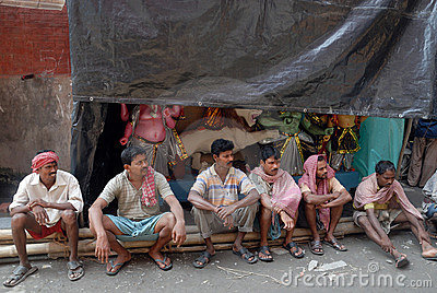 Porters of Kumartuli. Editorial Stock Photo