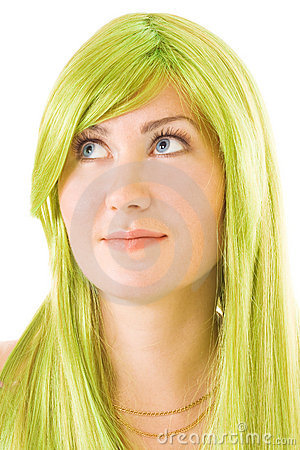 Portet of woman with green hair