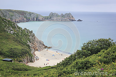 Porthcurno beach cornwall coast uk