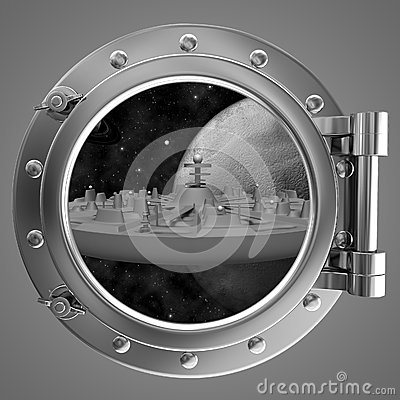 Free Porthole Overlooking The Spacecraft Stock Photos - 25340943