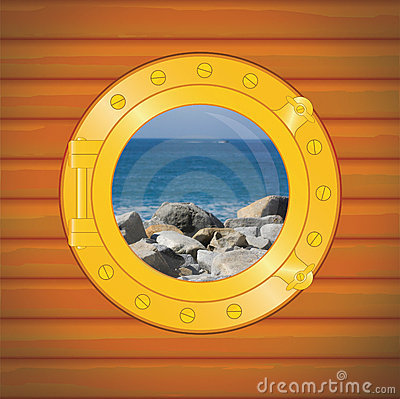 Porthole rocks and sea
