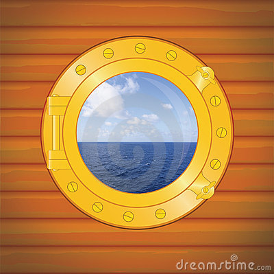 Free Porthole Sea And Clouds Royalty Free Stock Photography - 7139417