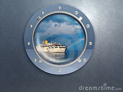 porthole. Travel by boat