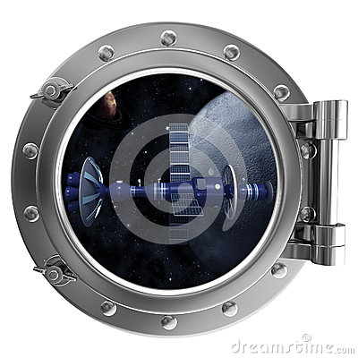 Porthole with a view of satellite