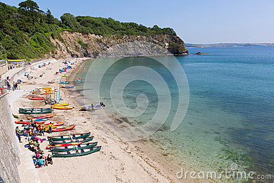 Porthpean beach Cornwall England near St Austell with blue sea Editorial Photography
