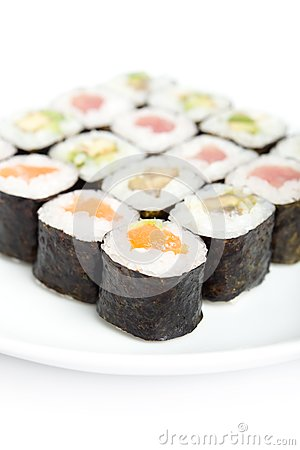 Portion of maki rolls