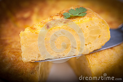 Portion of Spanish tortilla (omelette)