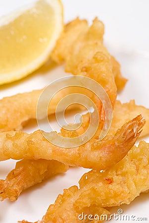 Portion of tempura prawns