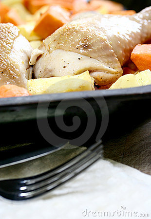 Portions of chicken, slowly roasted with