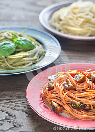 Free Portions Of Colorful Spaghetti With Ingredients Stock Image - 83956161