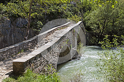 Portitsa gorge and the old bridge in Greece