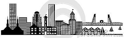 Portland City Skyline Panorama Clip Art