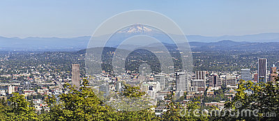 Portland Downtown Cityscape Mount Hood Panorama