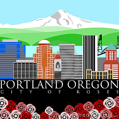 Free Portland Oregon Mount Hood With Colors Royalty Free Stock Photo - 17481655
