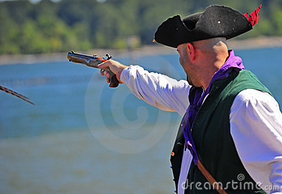 Portland OR Pirates Festival firing side arm Editorial Photography