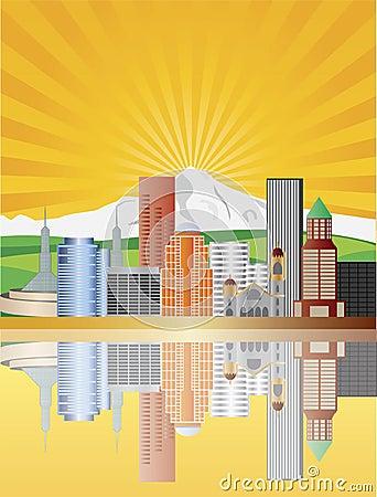 Portland Skyline at Sunrise Illustration