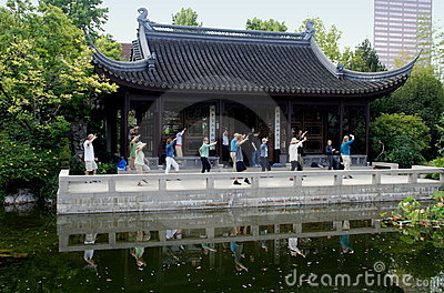 Portland, OR: Tai Chi at Chinese Classical Garden Editorial Stock Photo