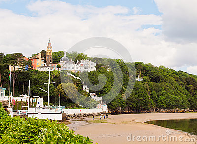 Portmeirion village and beach, Wales