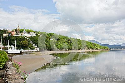 Portmeirion Welsh Village Beach Landscape, Wales