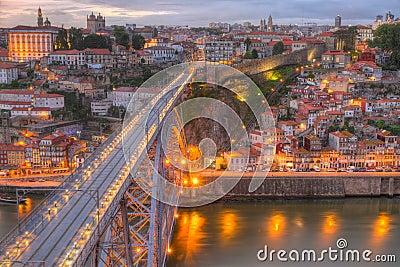 Porto and bridge at night, Portugal