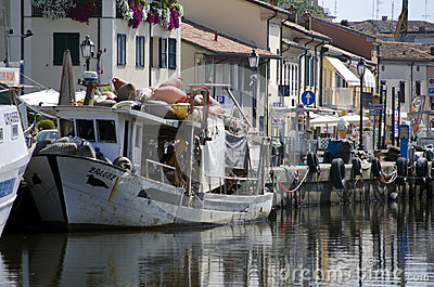 Port channel Cervia Editorial Stock Photo