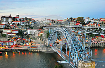 Porto cityscape on sunset