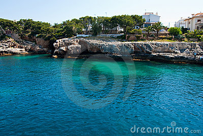 Porto Cristo bay and rocky shore, Majorca island