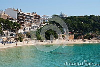 Porto Cristo street and the beach, Majorca, Spain