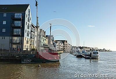 Porto di Littlehampton, costa di Sussex Fotografia Editoriale