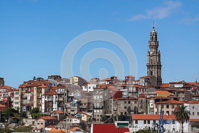 Porto landscape with red roofs and the Clerigos to