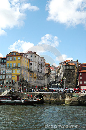 Porto Ribeira Houses and Square Editorial Stock Image
