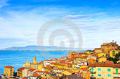 Porto Santo Stefano village, church and castle aerial view. Arge