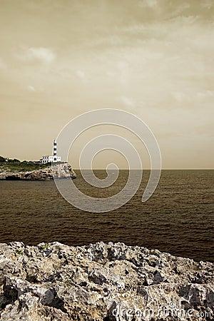 Portocolom lighthouse, mallorca, havana toned