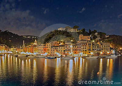 Portofino Harbor At Night, Italy