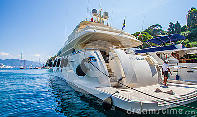 Portofino, Italy : Luxury Boat Editorial Stock Photo