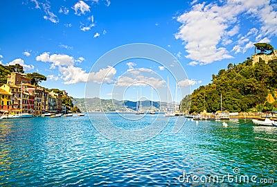 Portofino luxury village landmark, bay view. Liguria, Italy