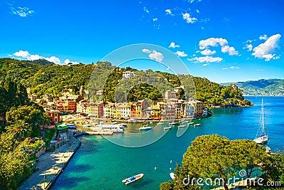 Portofino luxury village landmark, panoramic aerial view. Liguri