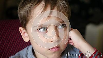 Porträt eines netten kleinen Jungen mit einem durchdachten Blick Das Kind passt Karikaturen auf stock footage