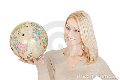 Portrail of beautiful woman holding a globe