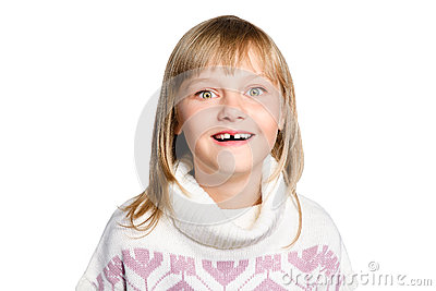 Portrait of amazed preteen girl over white