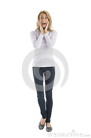 Portrait Of Amazed Young Woman Screaming