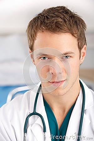 Portrait American student doctor on hospital ward