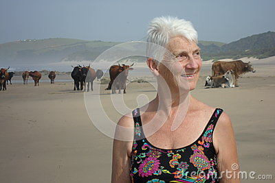 Portrait amidst the beach cows of the Transkei