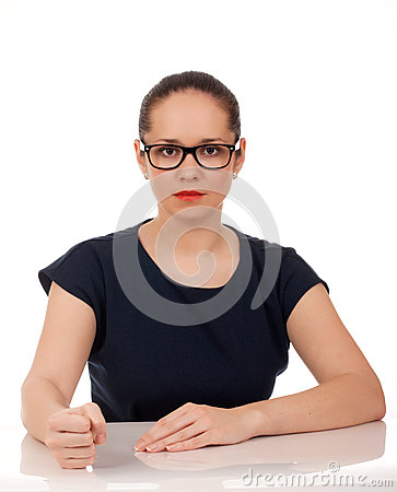 Portrait of angry business woman