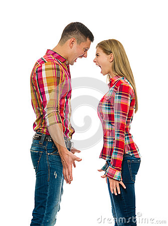 Portrait of an angry couple shouting