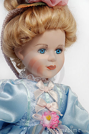 Portrait of antique porcelain doll face