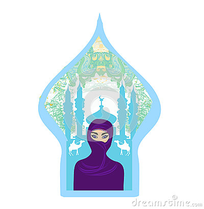 Arabian woman in hijab with desert silhouette.