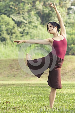 Portrait of asian ballet dancer outdoor