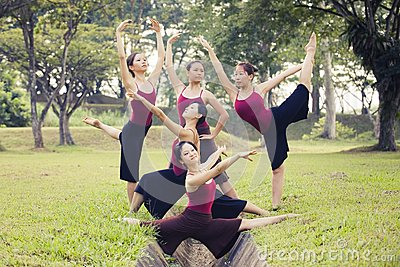 Portrait of asian ballet dancers outdoor